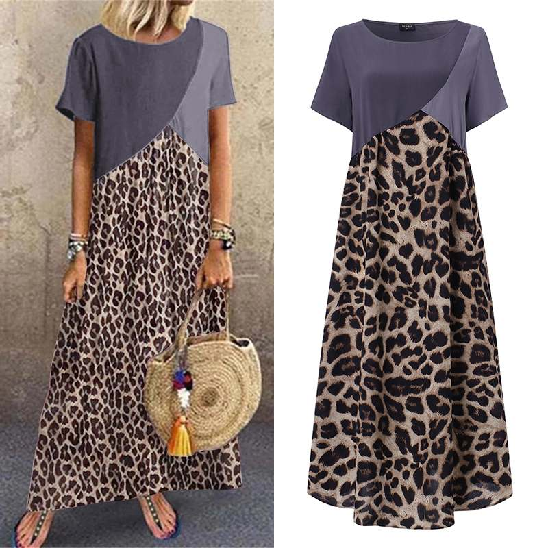 Women Printed Leopard Dress Vintage Short Sleeve Patchwork Party Maxi Long Dress Casual Robe Loose Vestidos Plus Size