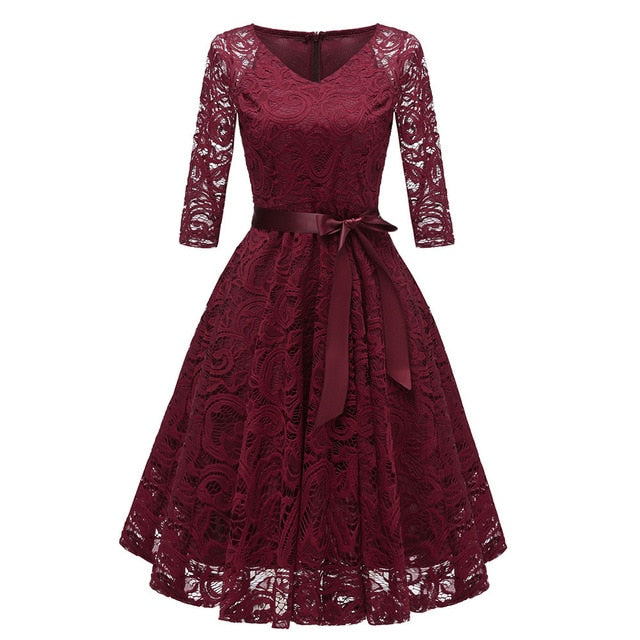 Vintage Women Floral Lace Cocktail Party Dress Elegant Female V-neck Long Sleeve  Aline Swing Dresses With Belt vestido de mujer
