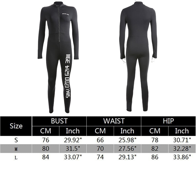 Black Sexy Bodycon Jumpsuit Romper Long Sleeve Bodysuit Women Zipper V Neck Jumpsuit Elegant Full Length Polyester