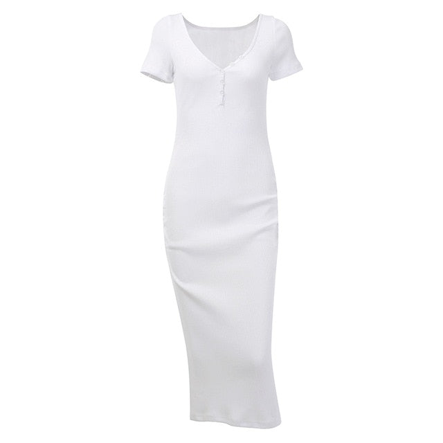 Ankle-Length Knitted Dress Sexy Short Sleeve Summer Casual Stretchy Elastic Elegant V-Neck Women Solid Dresses Bodycon
