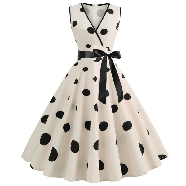 Woman Retro Dresses Audrey Hepburn 1950s 60s Rockabilly Polka Dot Bow Pinup Ball Grown Party Robe Plus Size Vestidos