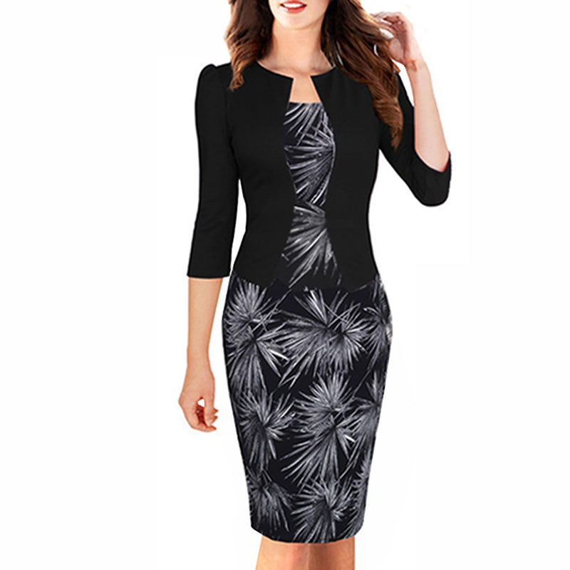 Women Autumn Elegant One-piece Formal Business Floral Printed Dress Vintage Plus Size Lady Work Office Bodycon Pencil Dress B237