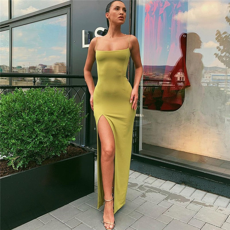 Women Backless Split Dress Camisole Elastic Female Dresses Evening Party Clubwear Long Sleeveless Dress Sexy Sleeveless Strap