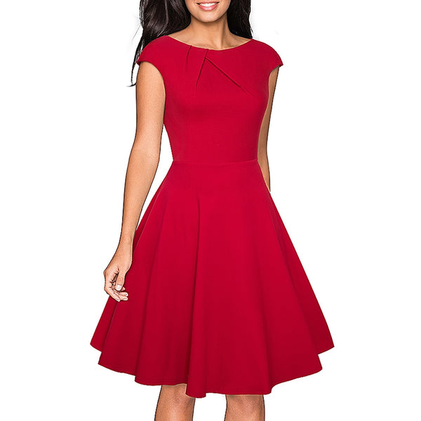 Women Elegant Summer Solid Color Ruched Cap Sleeve Casual Wear To Work Office Party Fitted Skater A-Line Swing Dress