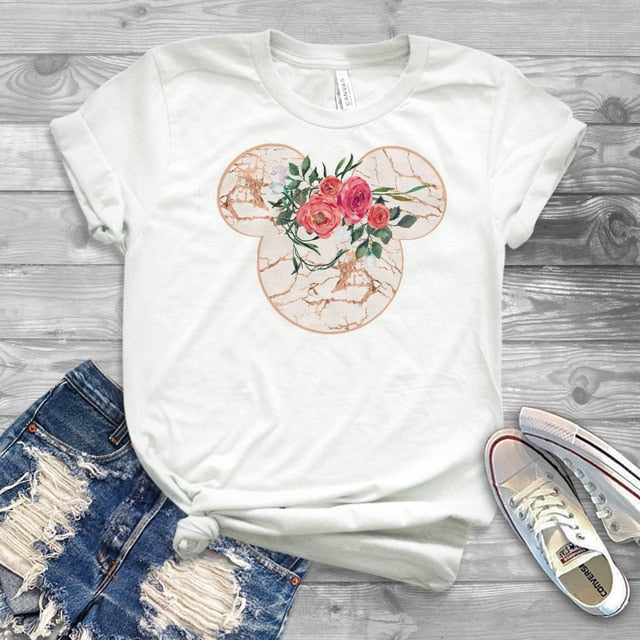 Women Fashion Graphic Flower Womens T-Shirt Cute Ear Tshirts Girl Laides Tumblr Tee Hipster Clothing Female T Shirt Print Tees
