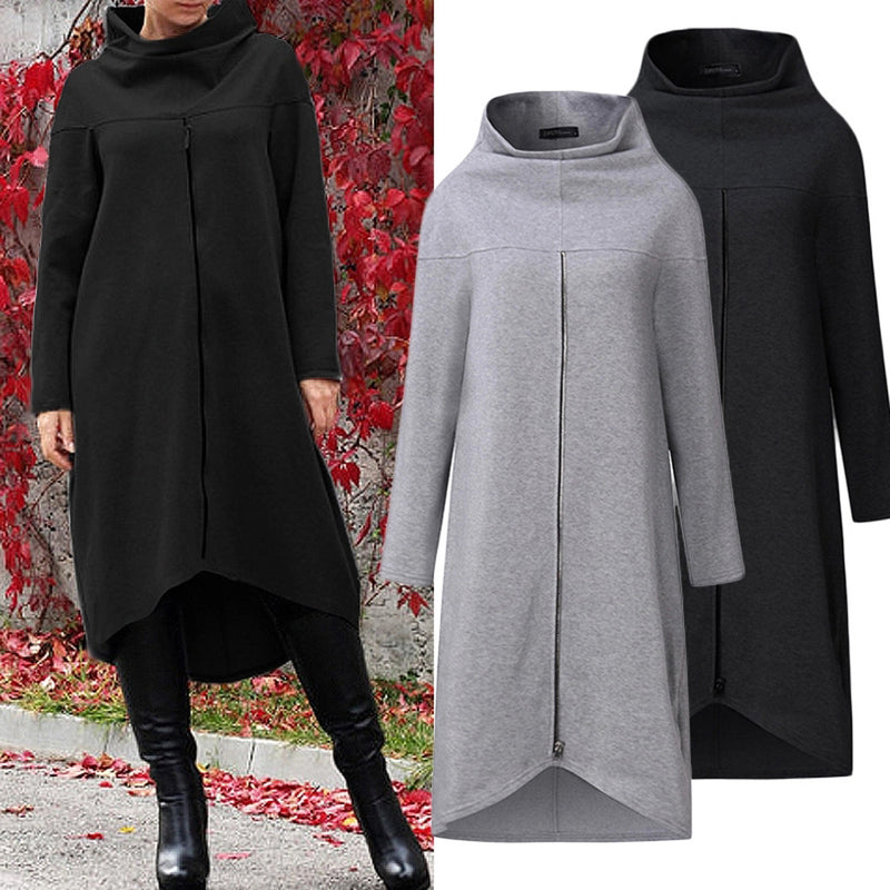 Women Long Shirt Dress Evening Party High Low Asym Split Sweatshirt Dress Winter Warm Thickening Plus Size Zipper Pullover