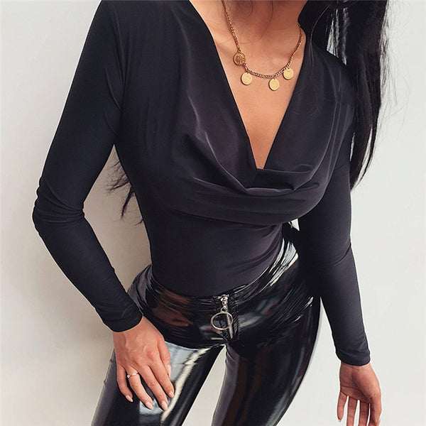 Women Long Sleeve OL Bodysuit Elegnat V Neck Bandage Body Tops Slim Fit Autumn Leotard Bodycon Romper Party Club Streetwear