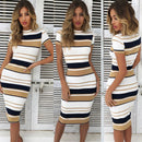 Women Red Summer Dress Sexy Sheath Striped Beach Dress O-Neck Elegant Party Dresses Short sleeve Plus Size