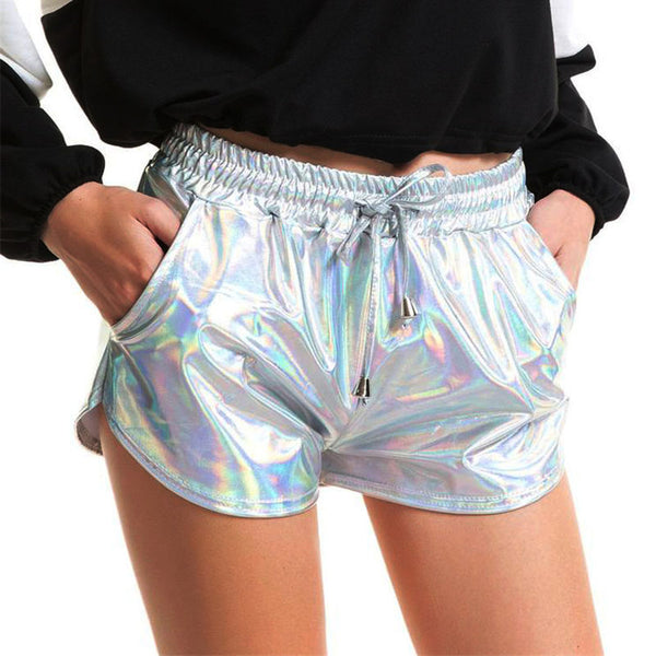 Women Shiny Metallic Hot Shorts Summer Holographic Wet Look Casual Elastic Drawstring Festival Rave Booty Shorts