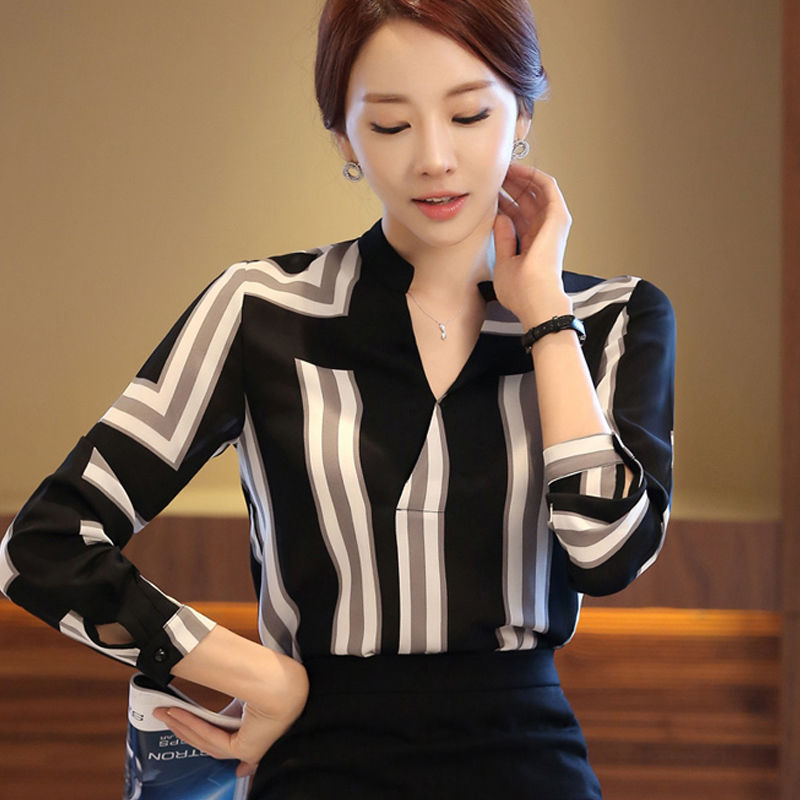 Women Tops Blouses Spring Summer Elegant Long Sleeve Striped V-Neck Chiffon Blouse Female Work Wear Shirts Blouse Plus Size