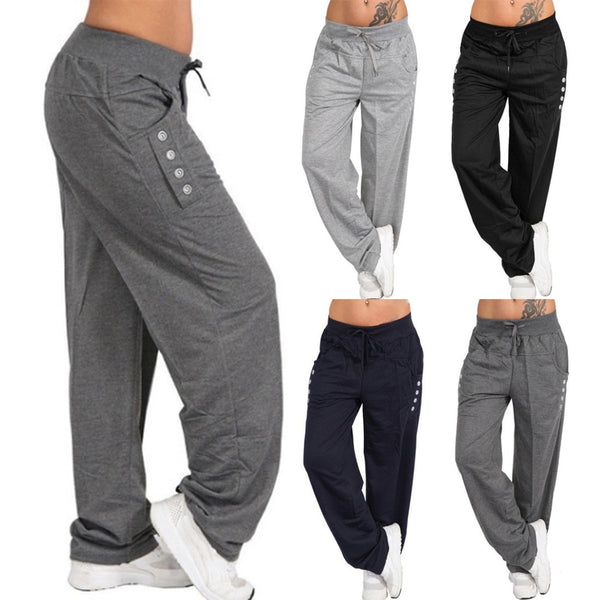 Women's Casual Loose Sport Harem Pants Sweatpants Wide Leg High Waist Lace Up Straight Joggers Trousers Plus Size Pantalon Femme