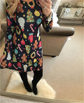 Women's Vintage Christmas Santa Print Costume A-Line Loose Dress Autumn Winter New Casual Christmas Party Dress Large Size S-5XL