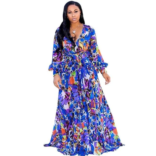 Chiffon print dress beach large size dress S-5XL women's long sleeve V-neck casual loose dress