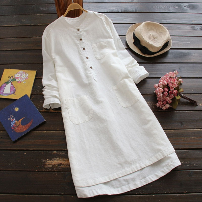 ZANZEA Tunic Shirt Dress 2019 Autumn Winter Women Long Sleeve Mandarin Pockets Mini Dress Plus Size Female Casual Solid Vestidos