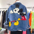 Fashion jean jacket denim coat women outwear long sleeve  patchwork cartoon jeans cowboy coat in winter plus size