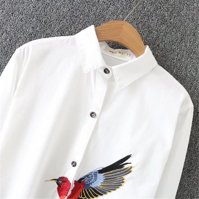 New Oversize Shirt Spring Big Size Women Long Shirt Cotton Blouses Style Clothing Embroidery Ladies Shirts Plus Size