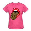 Women Red Lip Leopard Tongue T-Shirt Short Sleeve Cute Graphic Teen Girls Tee Tops - heather pink