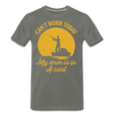 Mens Can't Work Today My Arm Is In A Cast T-shirt Funny Fishing Fathers Day Tee - asphalt gray