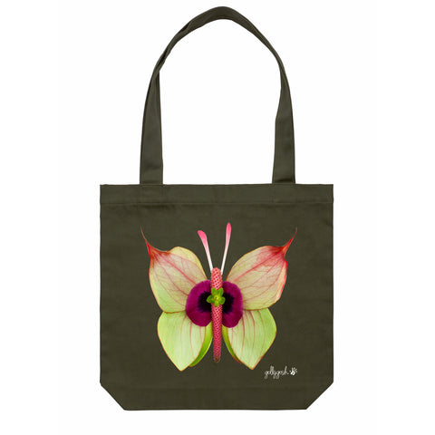 Cotton Canvas Tote Bag - Anthurium Butterfly- Green