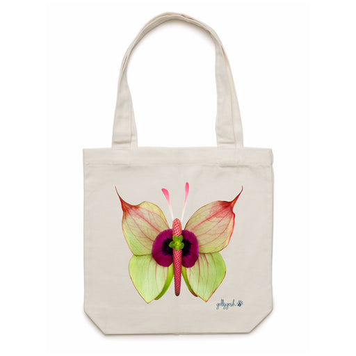 Golly Gosh Cream Cotton Canvas Tote Bag Anthurium Butterfly