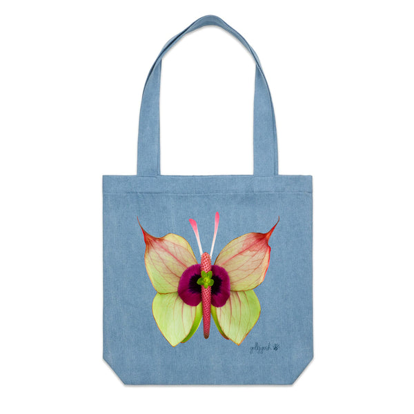 Golly Gosh Denim Cotton Canvas Tote Bag Anthurium Butterfly