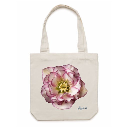 Golly Gosh Cream Cotton Canvas Tote Bag Helleborus Flower