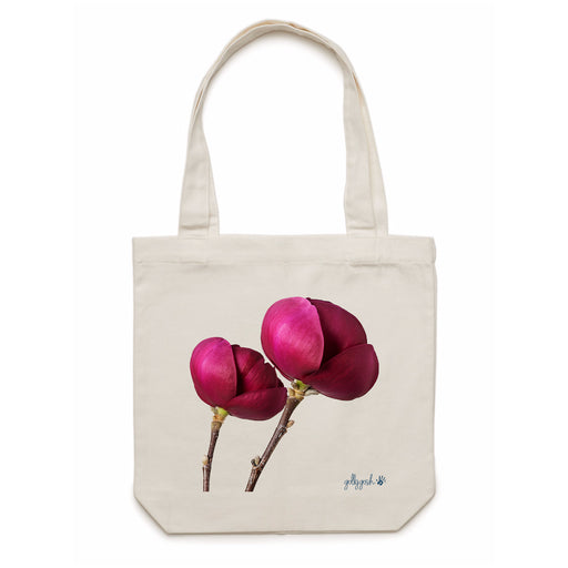 Golly Gosh Cream Cotton Canvas Tote Bag Peony Flower