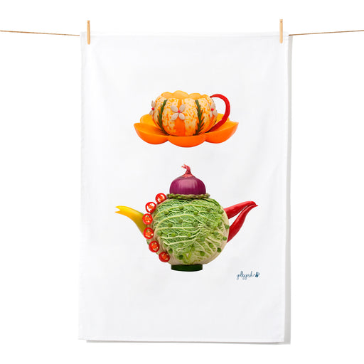 Golly Gosh Kitchen Tea Towel Cabbage Teapot & Pumpkin Cup