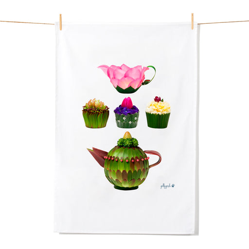 Golly Gosh Kitchen Tea Towel Flower Jug Cupcakes & Teapot