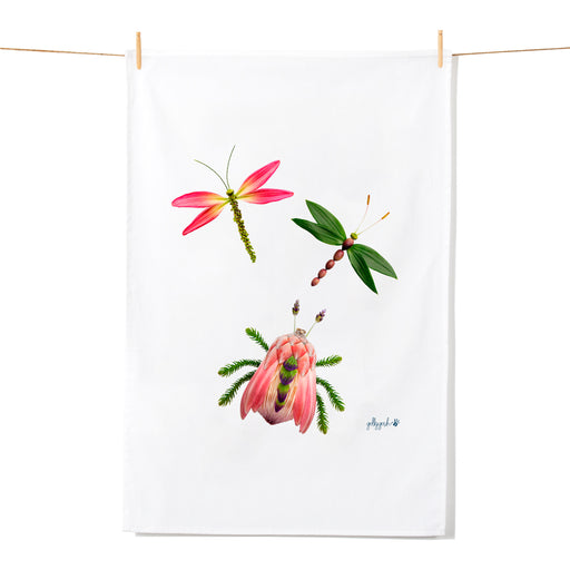 Golly Gosh Kitchen Tea Towel Bug & Dragonflies