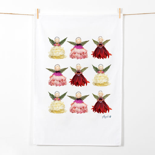 Golly Gosh Kitchen Tea Towel Flower Christmas Angels
