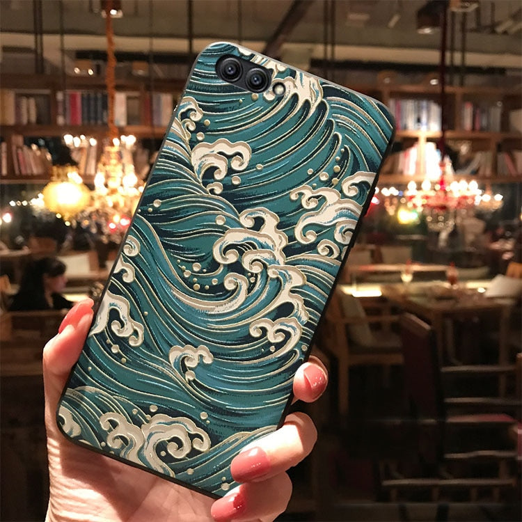 3D  Literary and beautiful retro Relief  For Huawei  Case