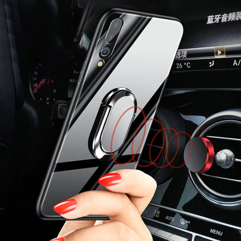 Hard Tempered Glass With Stand Ring Case For Huawei