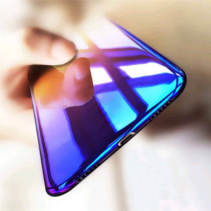 Luxury Gradient Ultra Thin Blue Ray Case For iPhone