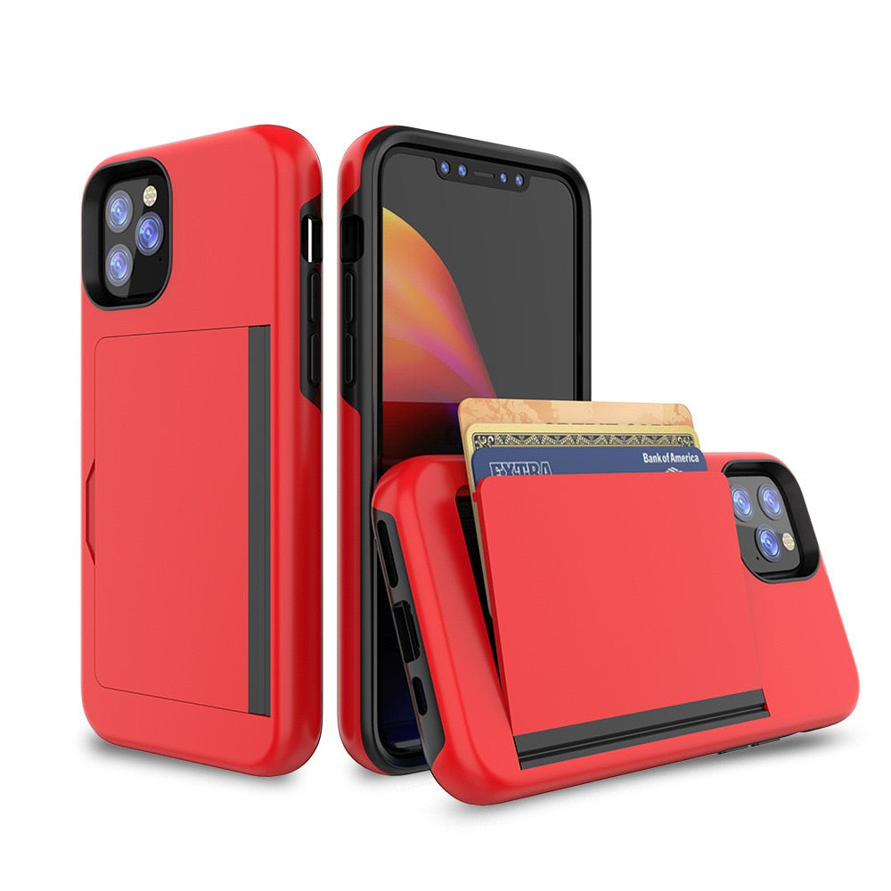 Armor Card Slot Case For iPhone