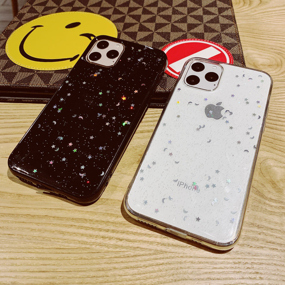 Bling Glitter Star Moon Soft Clear Case for Apple