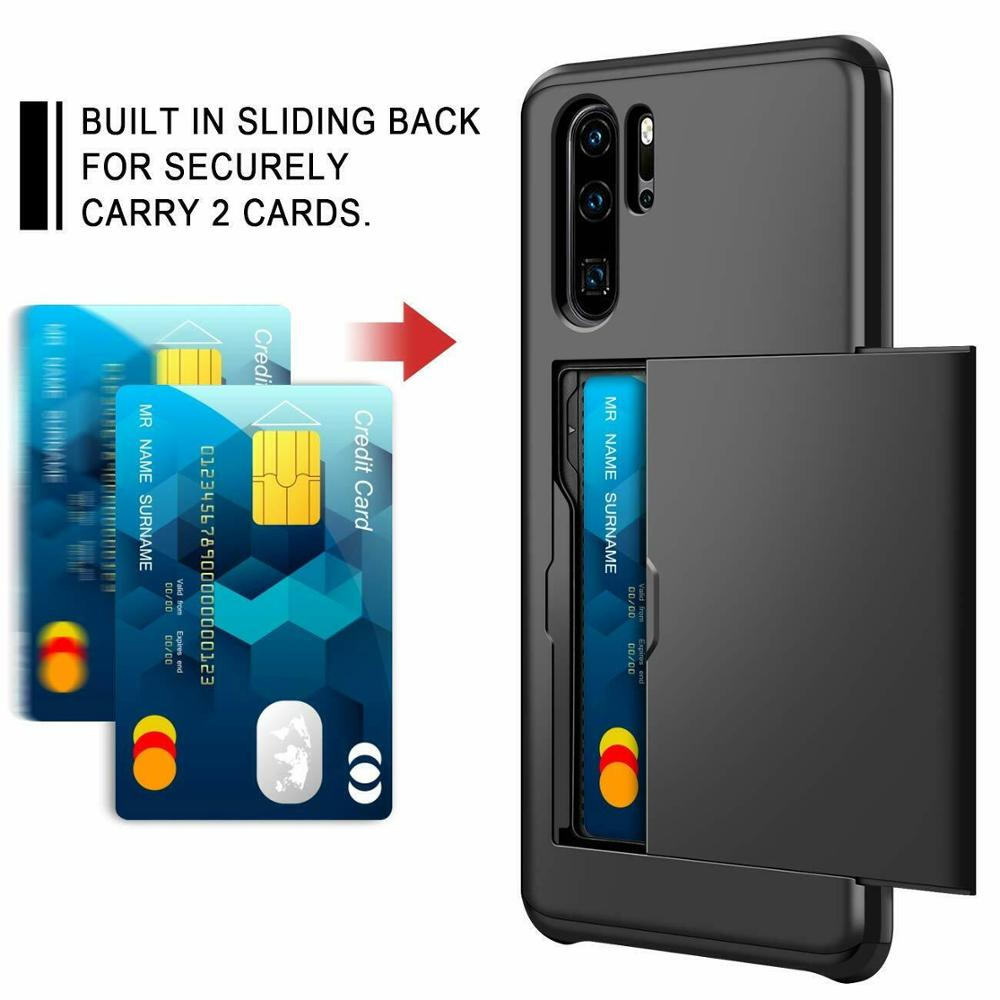 Armor Shockproof Rubber Bumper Wallet Case For Huawei