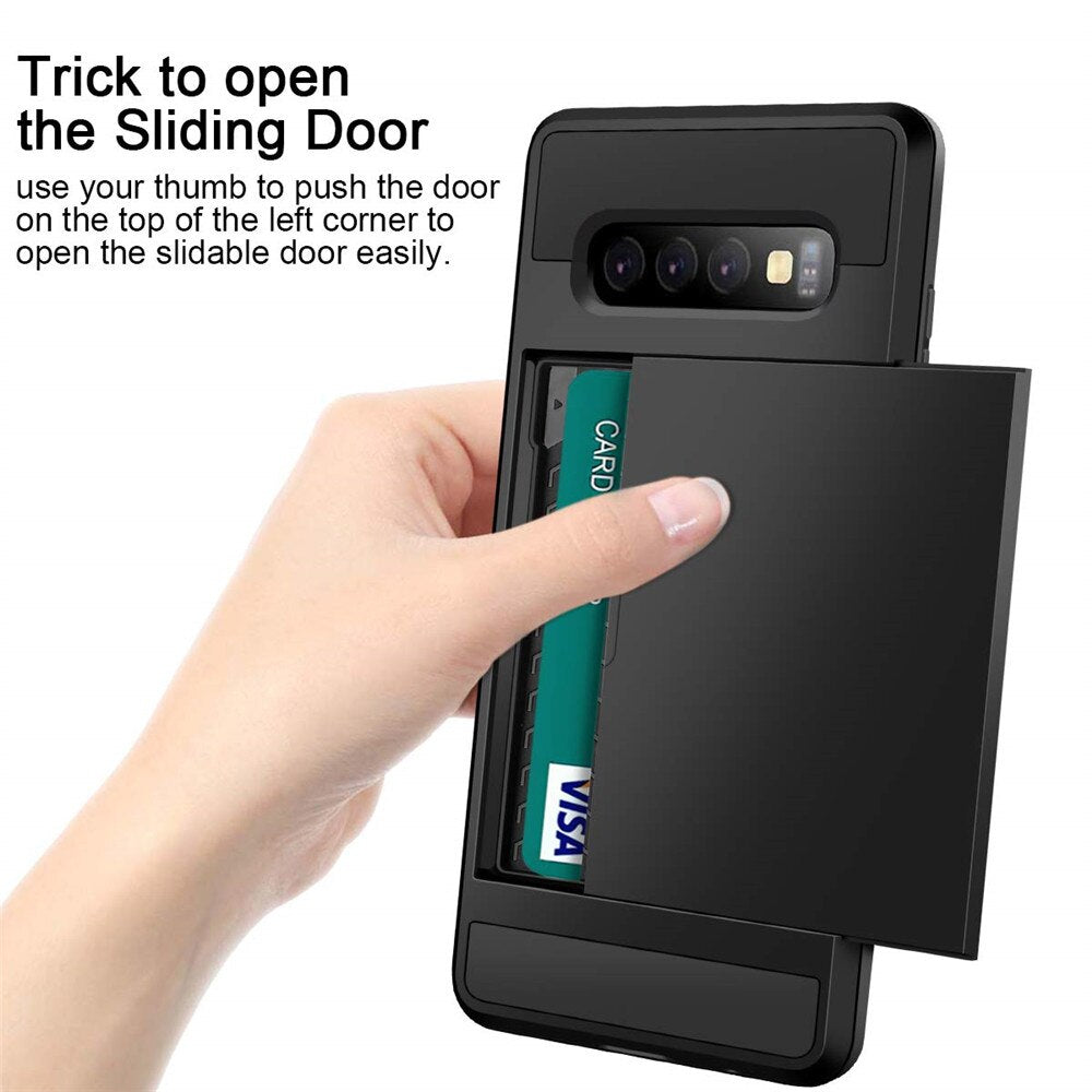 Card Slot Sliding Door Case For Samsung Galaxy
