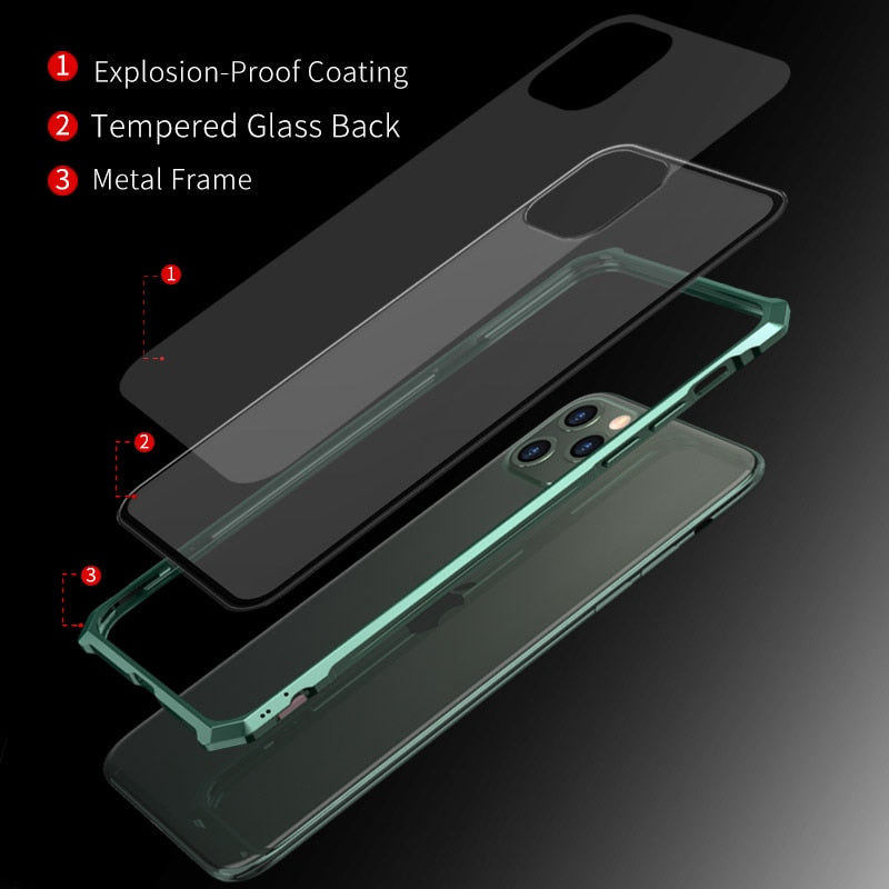 Luxury Aluminum Metal Frame Glass Cases For iPhone