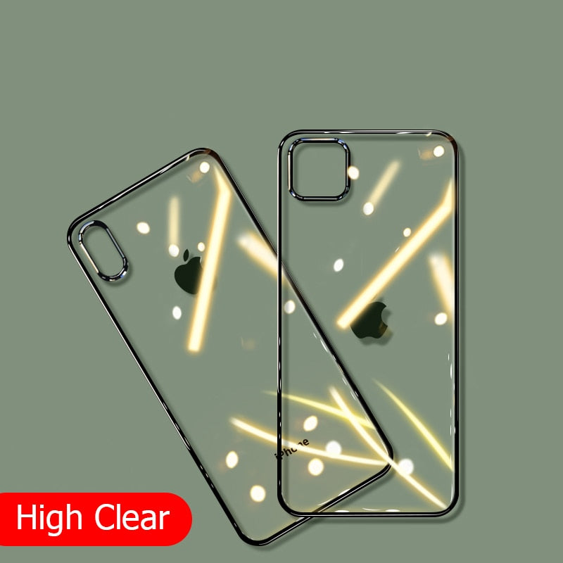 Luxury Plating  Clear Shockproof Case For iPhone