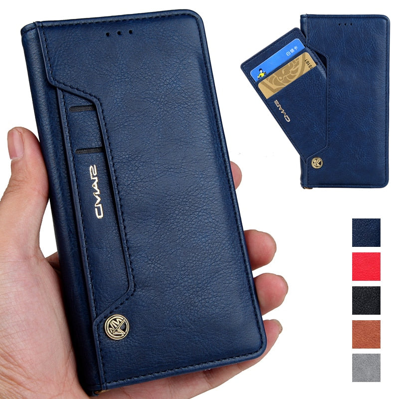 Magnetic Flip PU Leather Wallet Case For iPhone With Stand Cards Slot