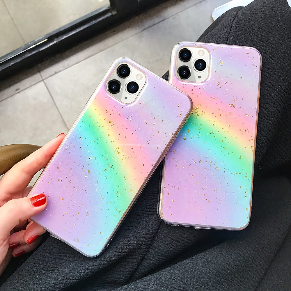 Gold foil Rainbow Glitter Case For iphone