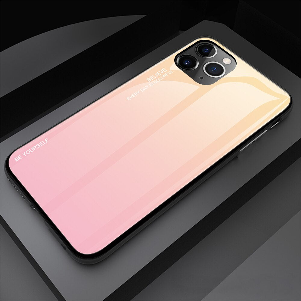 Tempered Glass Gradient Painted Case For iPhone