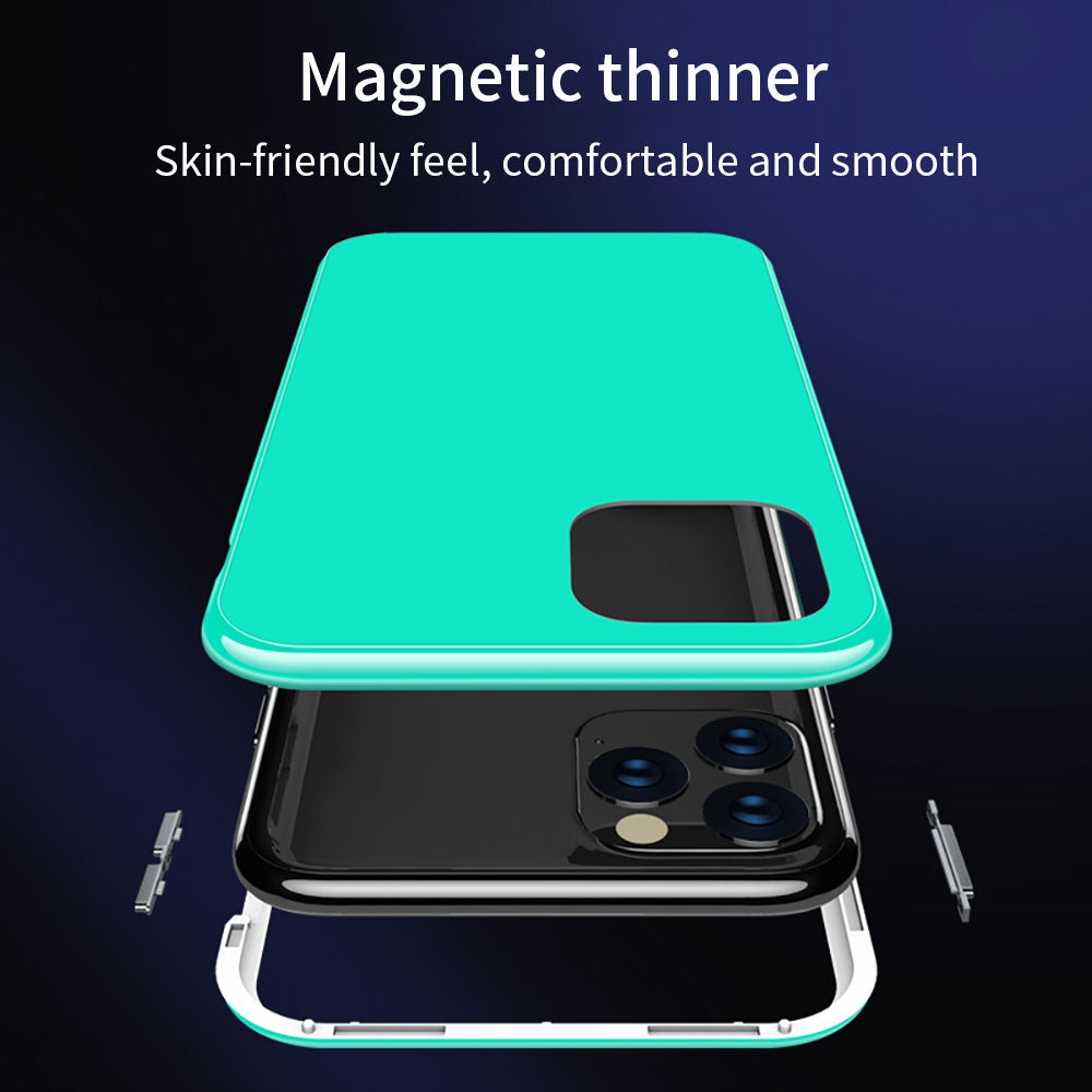 Tempered Glass Metal Magnetic Case For iPhone