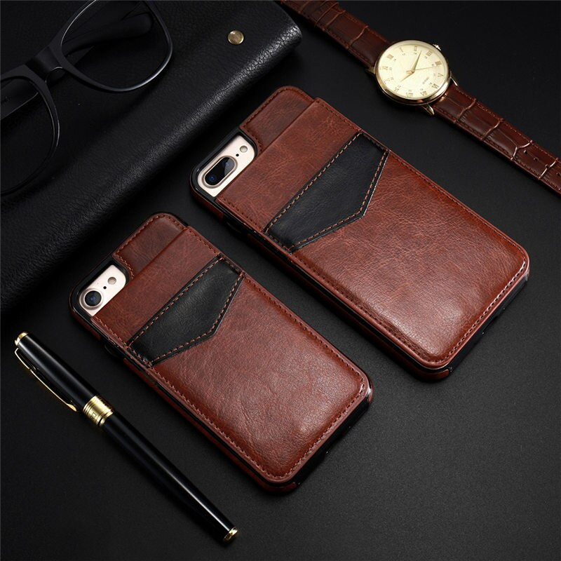 Vintage PU Leather Card Slot Wallet Case For iPhone & Samsung
