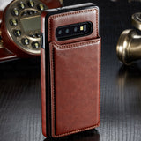 Leather Wallet Magnet Flip Case For Samsung