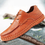 Italy Style Genuine Leather Comfortable Lace Up Men's Casual Shoes