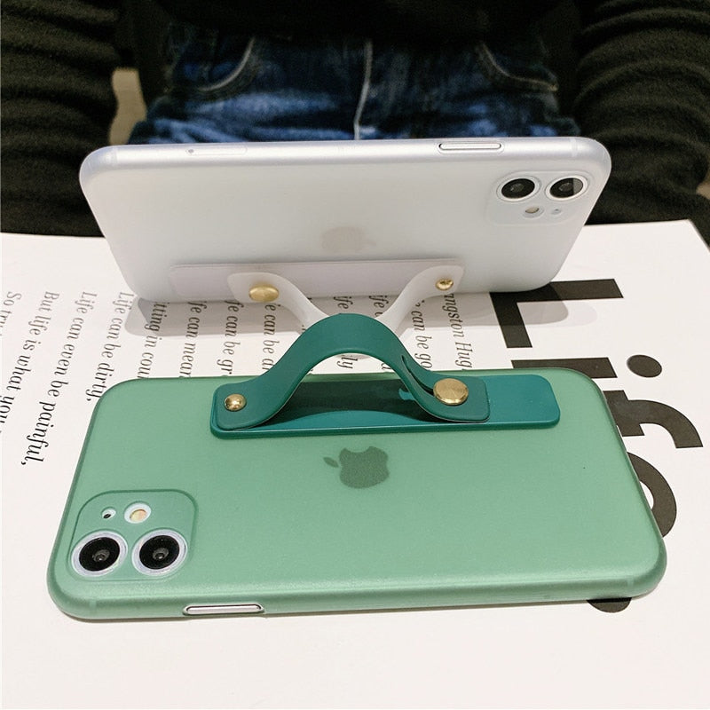 Solid Color Wrist Strap Case For iPhone
