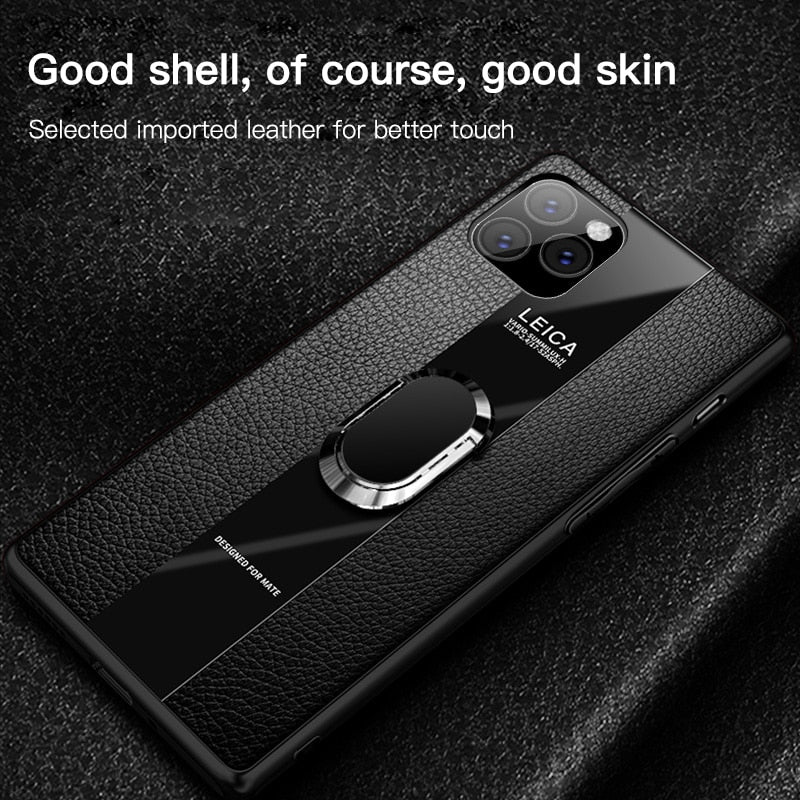Luxury Leather Silicone Magnetic Holder Case For iPhone