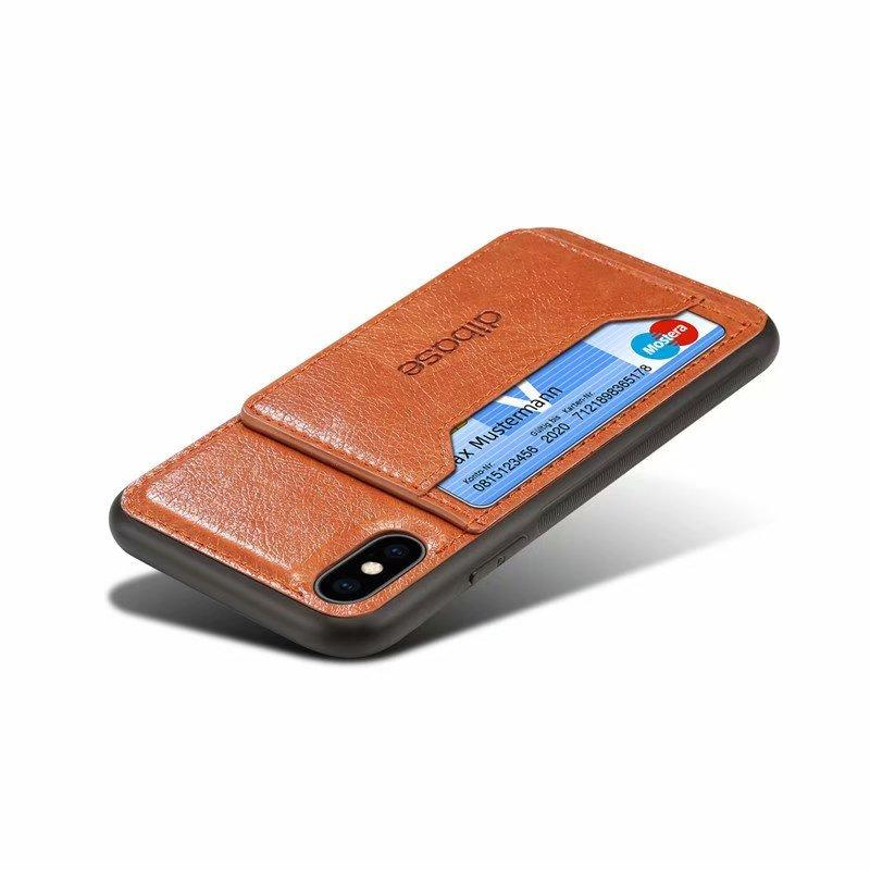 Luxury Leather Card Holder Case For iPhone
